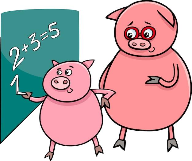 マッチ漫画のイラストで子豚