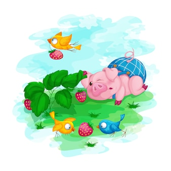 Piglet in blue shorts and his bird friends found strawberries.