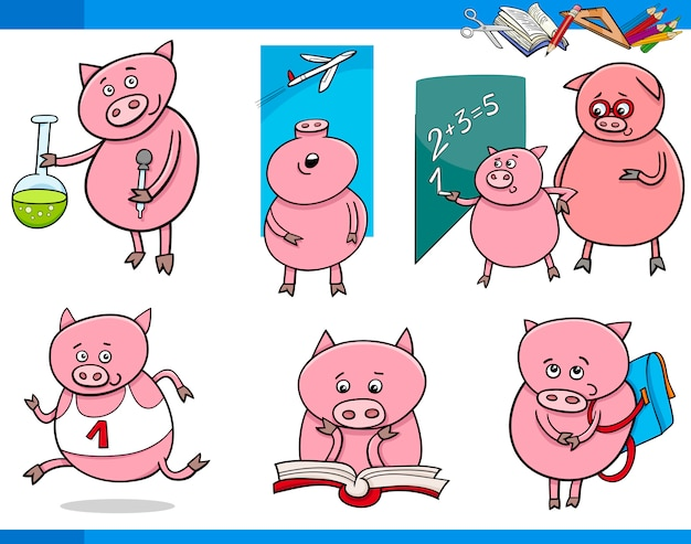 돼지 캐릭터 학생 만화 세트