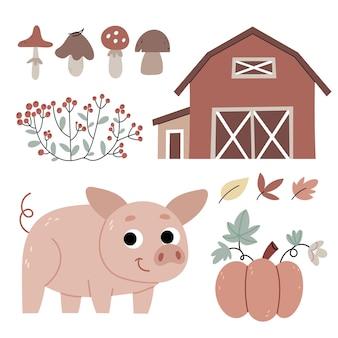Piglet on the farmagricultureautumn atmosphereillustration for childrens book