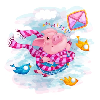 Piglet flies on a kite.