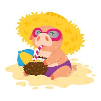 麦わら帽子のサングラスとココナッツのカクテルでビーチの子豚豚は砂の上に座っています