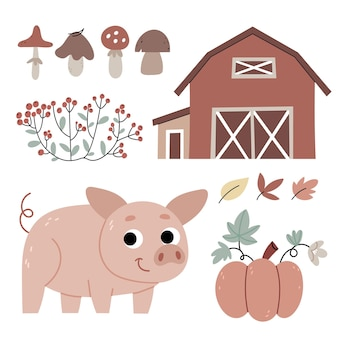 農場の子豚農業秋の雰囲気子供向けの本のイラスト