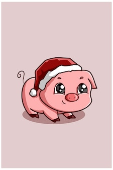 Piglet wearing a christmas hat