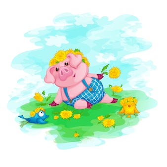 A piglet in a wreath of yellow flowers and funny birds
