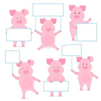 Свиньи держат пустой знак, чистый плакат, пустую вывеску, баннер. милый поросенок.