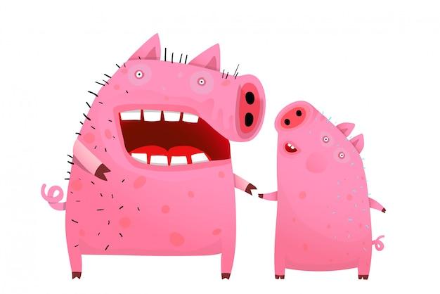 豚のママと息子または娘