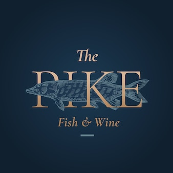 The pike abstract  sign, symbol or logo template. hand drawn pike fish with golden retro typography. premium quality vintage  emblem.