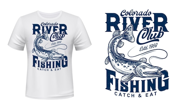 Pike on rod line t-shirt  print.