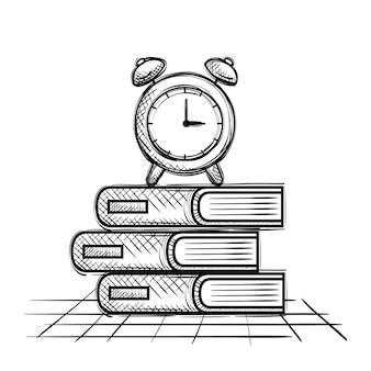 Pile books and alarm clock school supplies drawing
