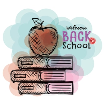 Pile books and apple back to school drawings