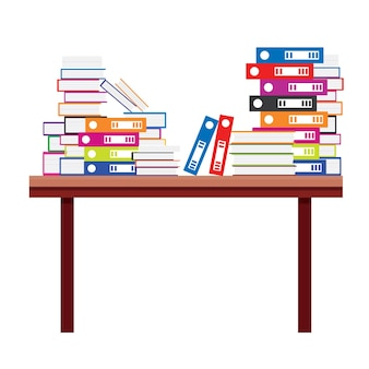 Pile of books and document file folders on a wooden table. vector illustration.