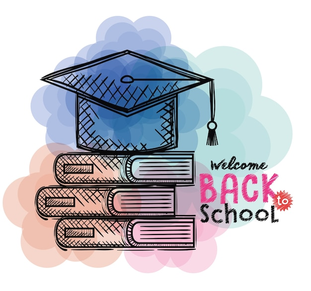 Pile books and hat graduation back to school drawings