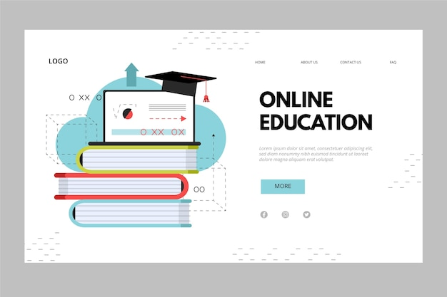 Pile of books online education landing page