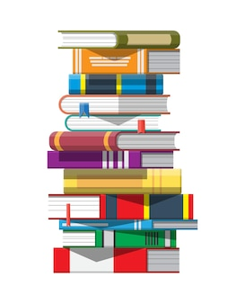 Pile of books. reading education, e-book, literature, encyclopedia.