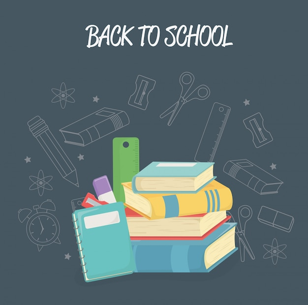 Pile books and supplies back to school