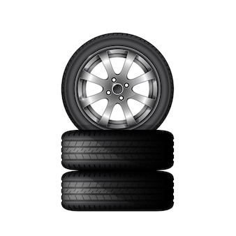 Pile of car tires with alloy wheel rim, tyre fitting service and sale advertisement poster