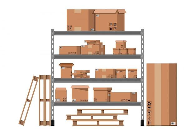 Pile cardboard boxes on shelves