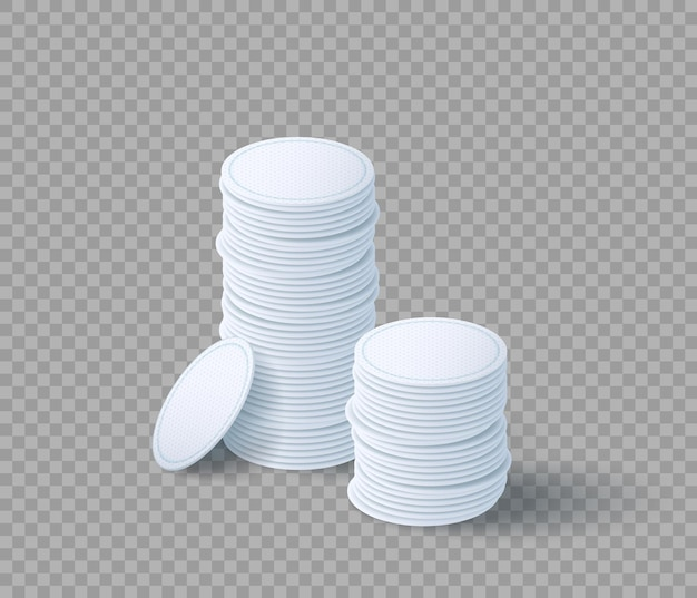 Pile of cosmetic cotton pads for makeup removal. hygiene white discs set. makeup remover napkins isolated on transparent background. realistic 3d vector illustration