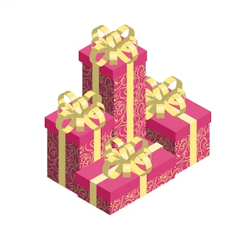 Pile of gift boxes isolated