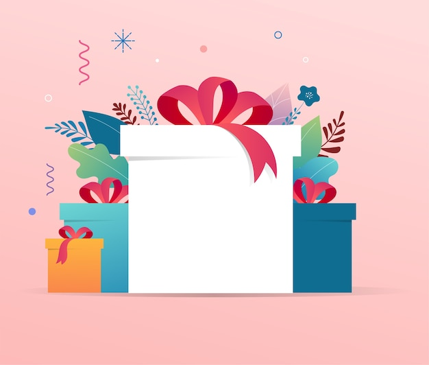 Pile of gift boxes with copy space