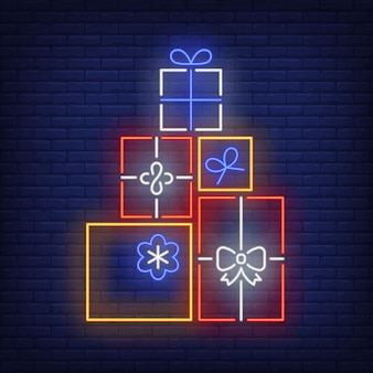 Pile of gifts in neon style