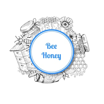 Pile of hand drawn honey elements gathered under circle with place for text and shadow