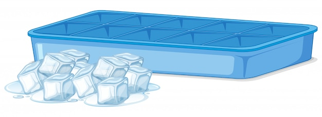 Pile of ice and empty ice tray on white