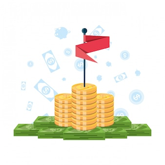 Pile of money with flag and set icons