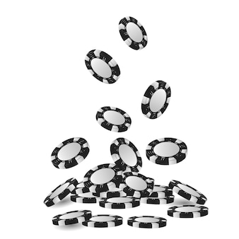 Куча 3d жетонов азартных игр или куча падающих реалистичных фишек казино, объемной рулетки и блэкджека, спортивных покерных денег или наличных. азартная игра и успех, победитель и удача, развлекательная тема.