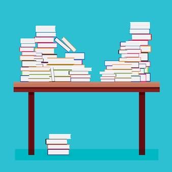 木製のテーブルの上の本の山。ベクトルイラスト。