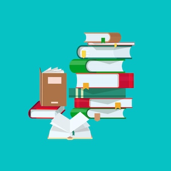 파란색 배경에 격리된 다채로운 표지와 책갈피가 있는 책 더미. 하드 커버 교과서 또는 문학 작품의 스택입니다. 대학 교육, 독서, 공부. 만화 벡터 일러스트 레이 션