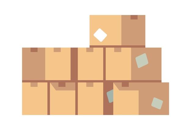 Куча картонных коробок. сложенные запечатанные различные коричневые упаковки товаров векторной концепции