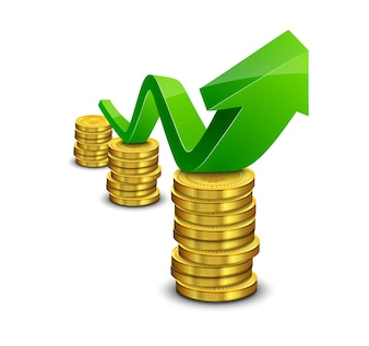 Pile of coin with green rising graph with upward arrow