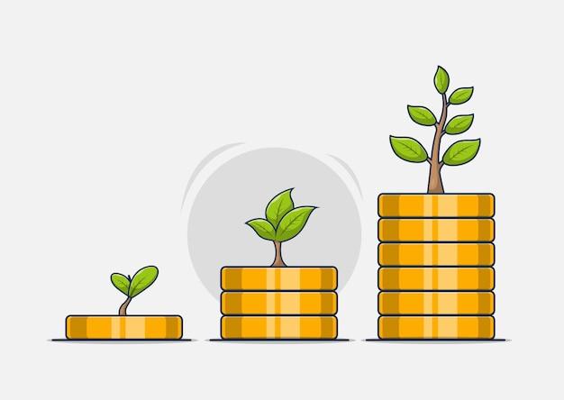 Куча монет растет вместе с деревом идей роста бизнеса, экономя деньги на будущее