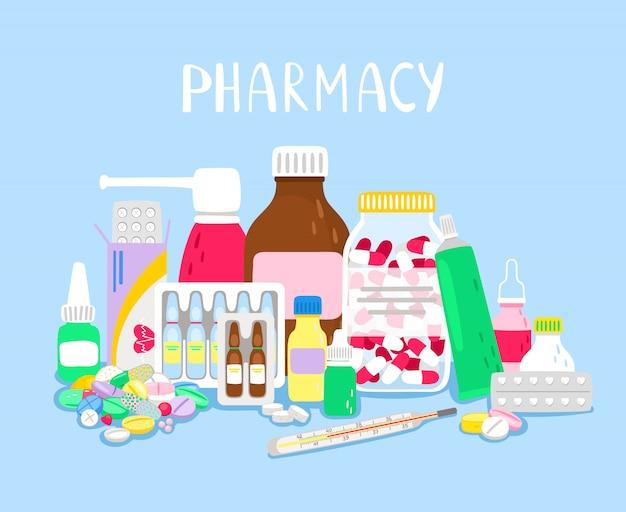 Куча лекарств в аптеке иллюстрации