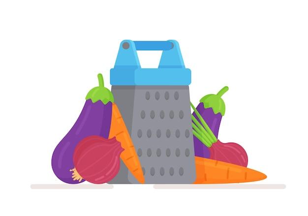 Куча свежих овощей и терка