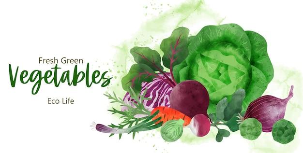 Куча свежих овощей рисованной