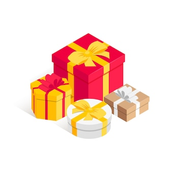 Куча подарочной коробки изометрические концепции.