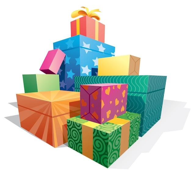Куча подарочных коробок иллюстрации