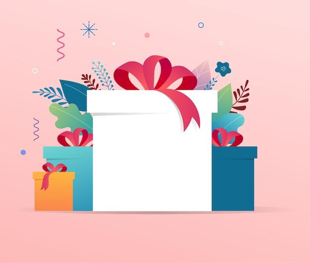 복사 공간 선물 상자 더미