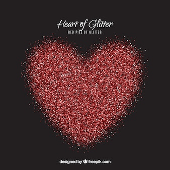 Pile of glitter in red color with heart shape