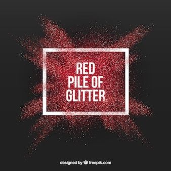 Pile of glitter in red color