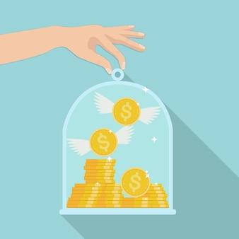ガラスのドームの下に金の現金と空飛ぶコインの山。お金の節約の概念。ローン、住宅ローンの保険