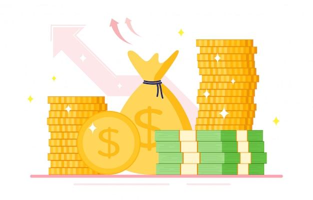 달러 기호, 현금 기호 플랫 스타일의 스택 돈과 금화의 더미.