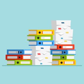 Стопка бумаги, стопка документов с картонной коробкой, картонная коробка, папка. оформление документации. понятие бюрократии. мультфильм дизайн