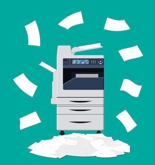 紙文書とプリンターの山
