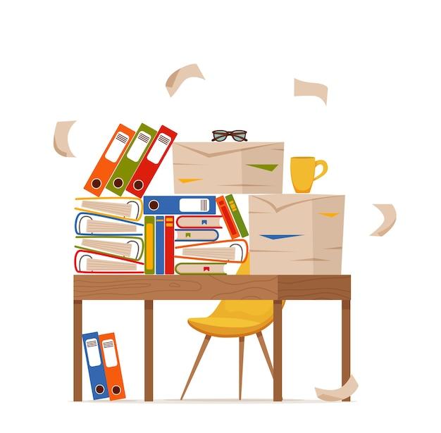 Куча бумаг, документов и папок с файлами на концепции офисного стола. стресс неорганизованных грязных бумаг, крайний срок, бюрократия, тяжелая бумажная работа, плоская карикатура.