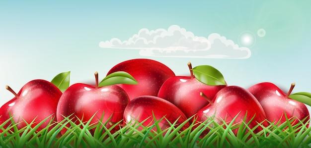 晴れた空に浮かぶ雲と草の上に置かれた赤いリンゴの山