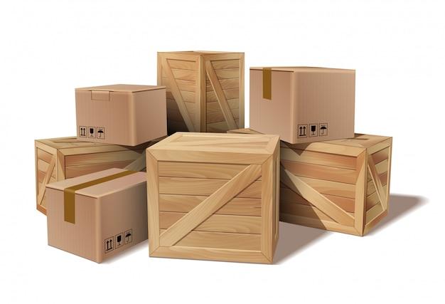 Куча сложенных товаров картонные и деревянные ящики.